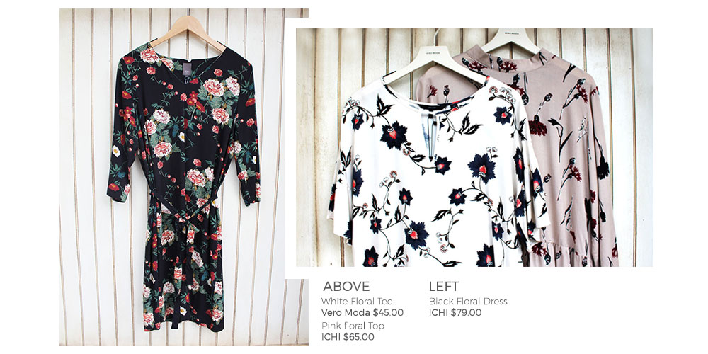 White Floral Tee and Blakc Floral Dress