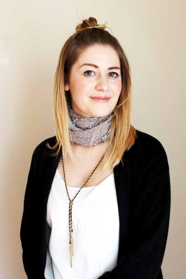 choker scarf with draping necklace - front view