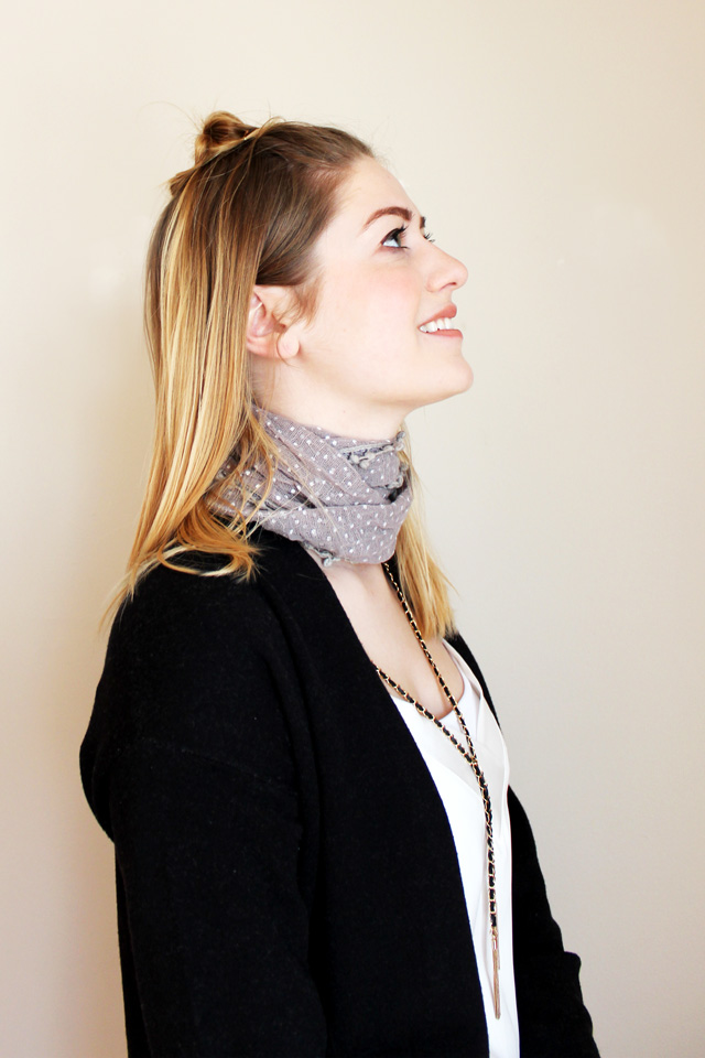 choker scarf with draping necklace - side view