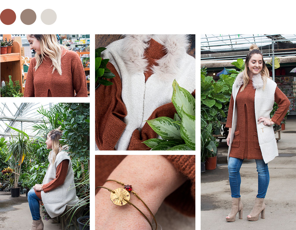 Sweater with Fur Collar by Minkas, Gold Sweater Dress by Papillion, Bangles by Pika and Bear