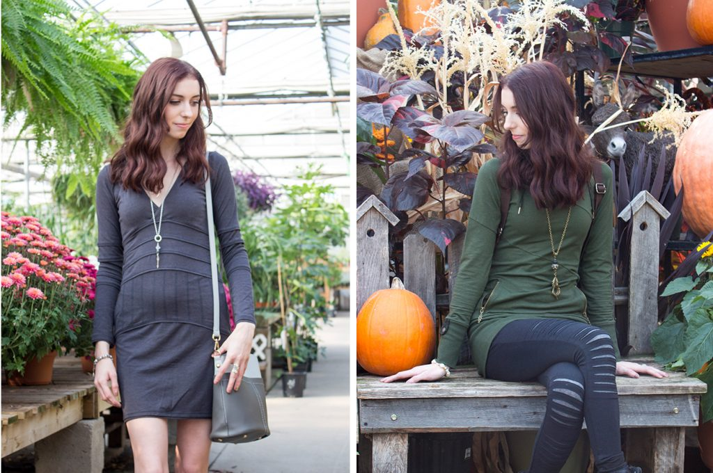 Nomads grey dress and green tunic with black leggings