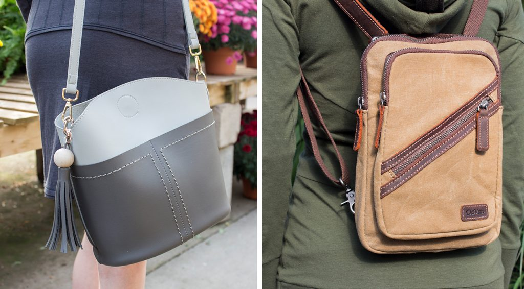Nomads grey purse and brown leather backpack